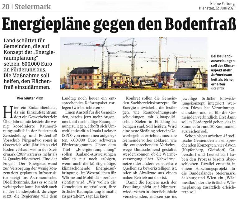 Auszug aus dem Artikel für Steiermark - Kleine Zeitung
